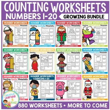 Counting & Number Worksheets 1-20: BUNDLE