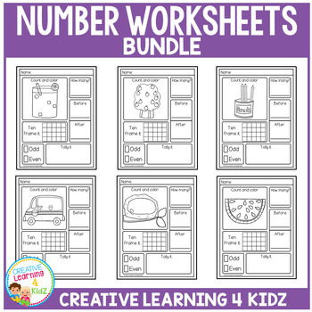 Counting & Number Worksheets 1-20: BUNDLE by Creative ...