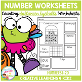 Counting & Number Worksheets 1-20: Halloween Eyeballs