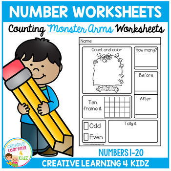 Counting & Number Worksheets 1-20: Monster Arms