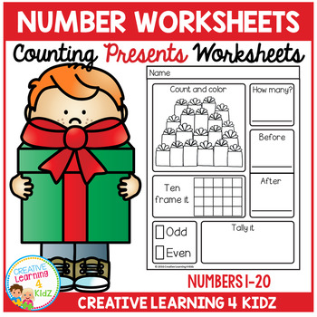 Counting & Number Worksheets 1-20: Presents