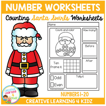 Counting & Number Worksheets 1-20: Santa Swirls