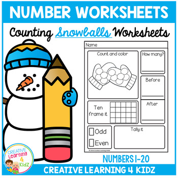 Counting & Number Worksheets 1-20: Snowballs