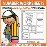 Counting & Number Worksheets 1-20: Thanksgiving Turkey Feathers