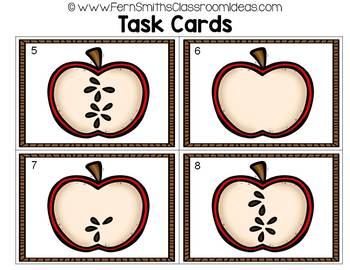 Counting Numbers 0 - 10 Apple Themed Task Cards