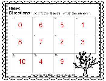 Counting Numbers 0 - 10 Fall Leaves Themed Task Cards