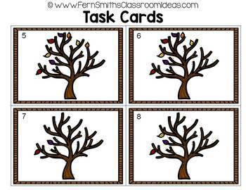 Counting Numbers 0 - 10 Fall Themed Task Cards Discounted Bundle