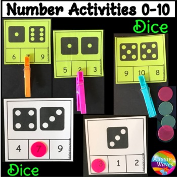 Counting 0-10 Number Recognition Dice Patterns Kinder Math Center Activity