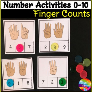 Counting Fingers Numbers 0-10 Number Recognition Kinder Math Center Activity