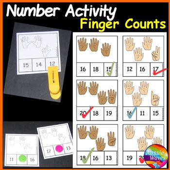 Printable Math Centre Activity Counting Numbers 11-20 Recognizing Finger Counts