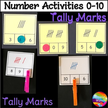 Counting Numbers 0-10 Number Recognition Tally Mark Kinder Math Center Activity