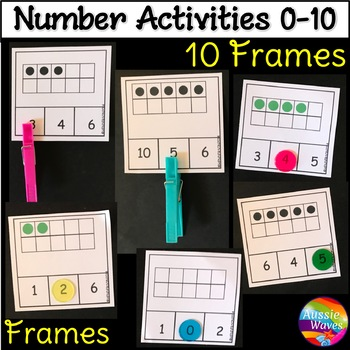 Counting Numbers 0-10 Number Recognition Ten Frames Kinder Math Center Activity