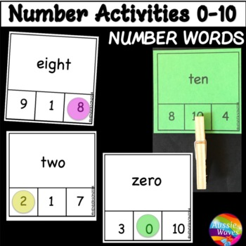 Counting Numbers 0-10 Number Recognition and Words Kinder Math Center Activity