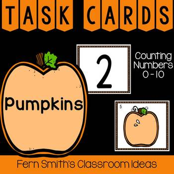 Counting Numbers 0 - 10 Pumpkin Themed Task Cards
