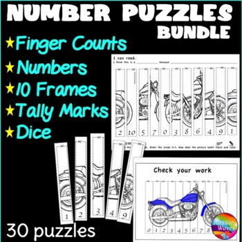 Counting Number Puzzles 0-10 Cut & Order BUNDLE Kinder Math Center Activity