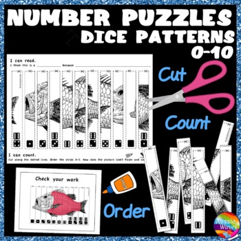 Counting Number Puzzles Order 0-10 DICE PATTERNS Kinder Math Center Activity
