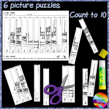 Counting Number Puzzles 0-10 Order NUMERALS Kinder Math Center Activity