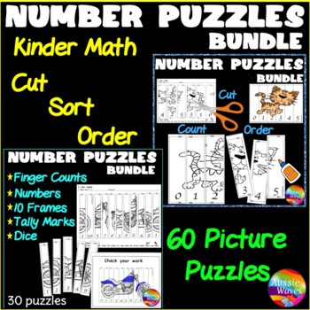 Counting Number Puzzles 0-10 Order Activity SUPER-BUNDLE Kinder Math Center