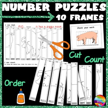 Counting Number Puzzles 0-10 Order TEN-FRAMES Kinder Math Center Activity