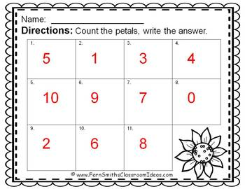 Counting Numbers 0 - 10 Sunflower Themed Task Cards