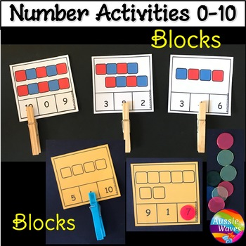 Numbers 0-10 Number Recognition Count Blocks Kinder Math Center Activity
