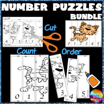 Counting Number Puzzles Order 0-5 BUNDLE Kinder Math Center Activities