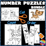 Math Activities and Puzzles Cut. Paste and Order 0-5 BUNDLE