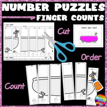 Counting Number Puzzles 0-5 Order FINGER COUNTS Kinder Math Center Activity
