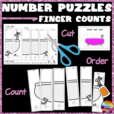 Math Activity Cut and Paste Number Puzzles 0-5 Order FINGER COUNTS