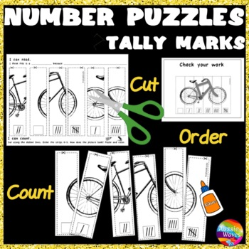 Counting Number Puzzles 0-5 Order TALLY MARKS Kinder Math Center Activity