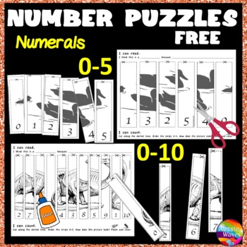 Counting Number Puzzles 0-5 and 0-10 Recognition Ordering Math Center Activity
