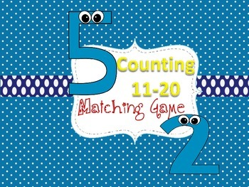 Counting Numbers 11-20: Pre-K & Kindergarten Matching Game
