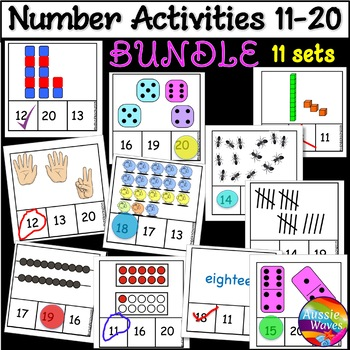 Counting Numbers 11-20 Number Recognition Activity Cards BUNDLE  Math Centers