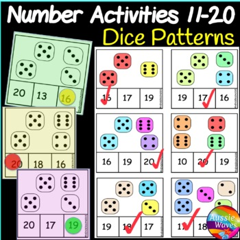 Printable Math Activity Counting Numbers 11-20 Recognizing DICE patterns