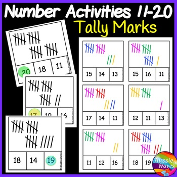 Printable Math Activity Counting Numbers 11-20 Number Recognizing TALLY MARKS