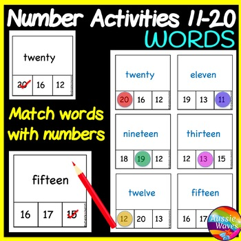 Math Centre Activity Matching Numbers and WORDS Numbers 11-20