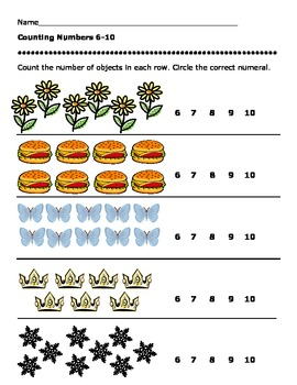 Counting Numbers 6-10 Worksheets