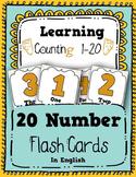 Number Flash Cards 1-20 Number line