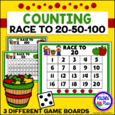 Counting Numbers Game: Race to 20, 50, or 100 - Apples