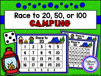 Counting Numbers Game: Race to 20, 50, or 100 - Camping