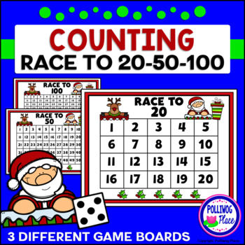 Counting Numbers Game: Race to 20, 50, or 100 - Christmas