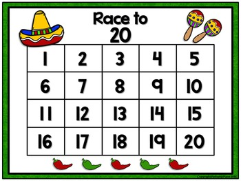 Counting Numbers Game: Race to 20, 50, or 100 - Cinco de Mayo