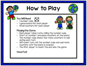 Counting Numbers Game: Race to 20, 50, or 100 - Earth Day