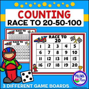 Counting Numbers Game: Race to 20, 50, or 100 - Race Cars