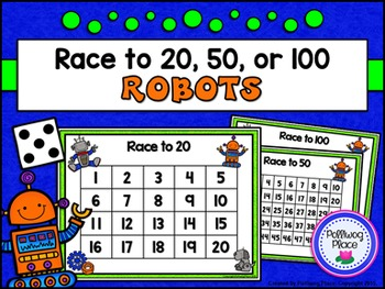 Counting Numbers Game: Race to 20, 50, or 100 - Robots