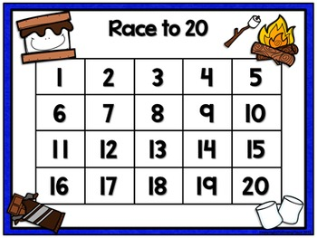 Counting Numbers Game: Race to 20, 50, or 100 - S'Mores
