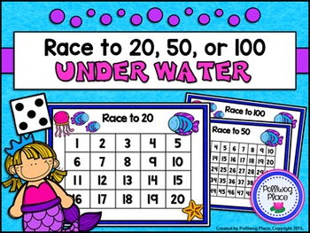 Counting Numbers Game: Race to 20, 50, or 100 - Sea Life
