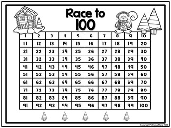 Counting Numbers Game: Race to 20, 50, or 100 - Snowy Cabin (Winter)