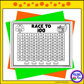 Counting Numbers Game: Race to 20, 50, or 100 - Thanksgiving