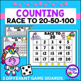 Counting Numbers Game: Race to 20, 50, or 100 - Unicorns